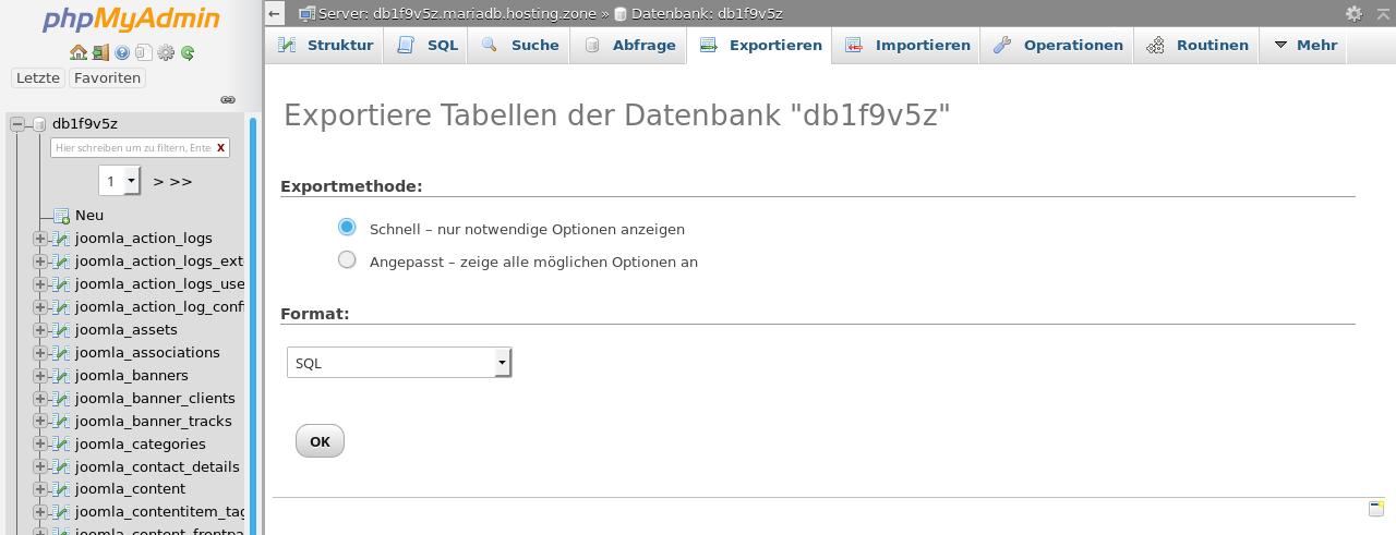 Datenbankansicht in phpMyAdmin