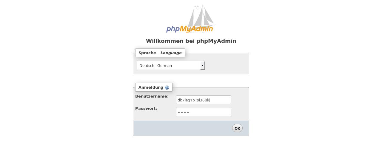 Login in phpMyAdmin