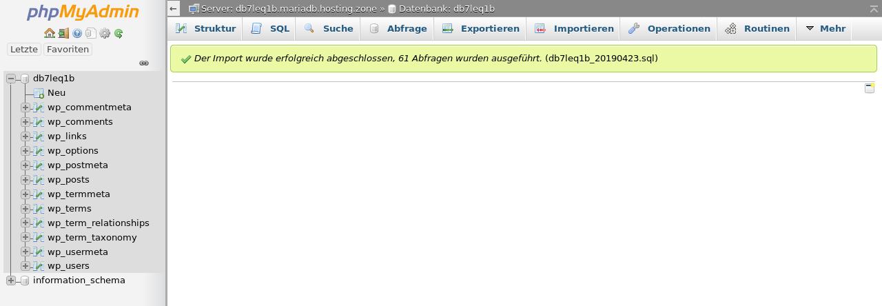 Abschluss Import in phpMyAdmin