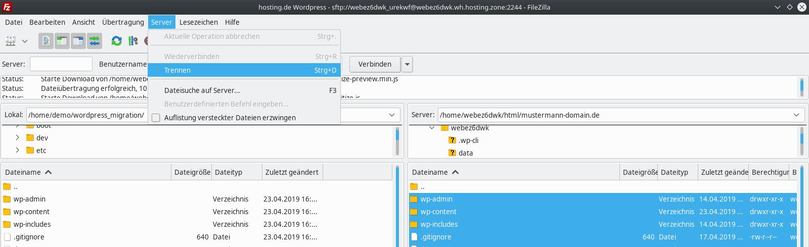 Datei Download FileZilla