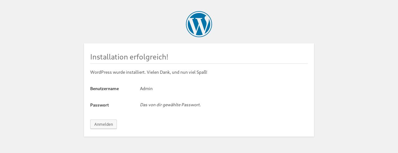Wordpress Installer 5 - Installation abschließen
