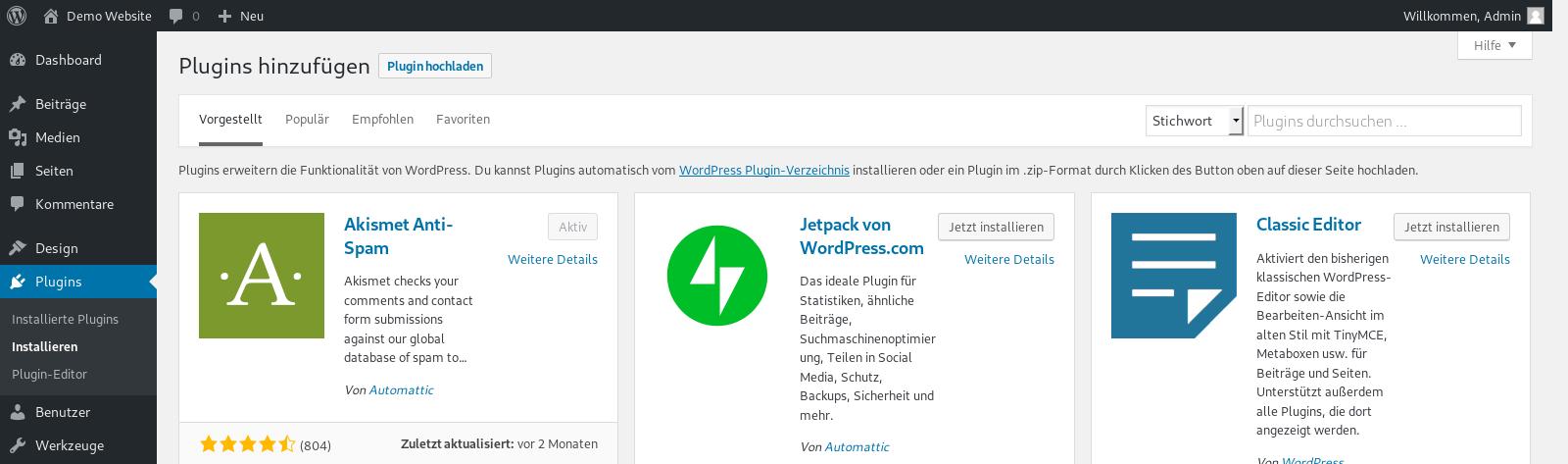 Installation von Wordpress Plugins
