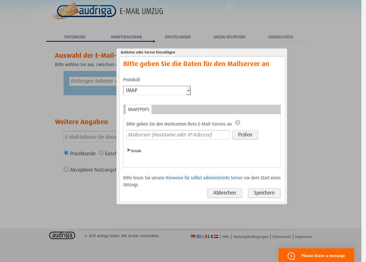 Audriga E-Mail-Umzug