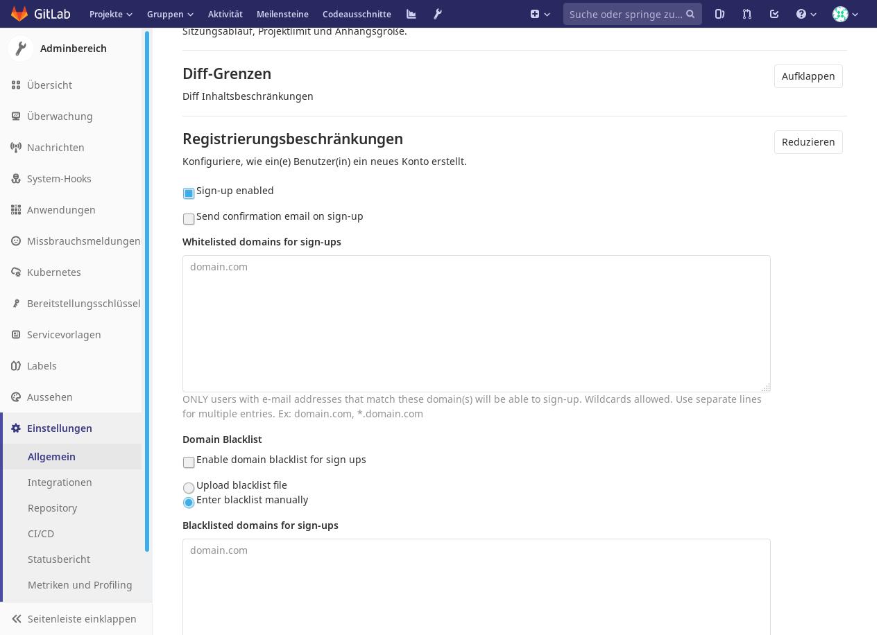 Gitlab Konfiguration