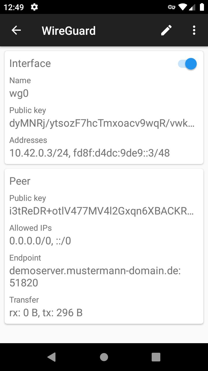 Einrichtung von Wireguard unter Android