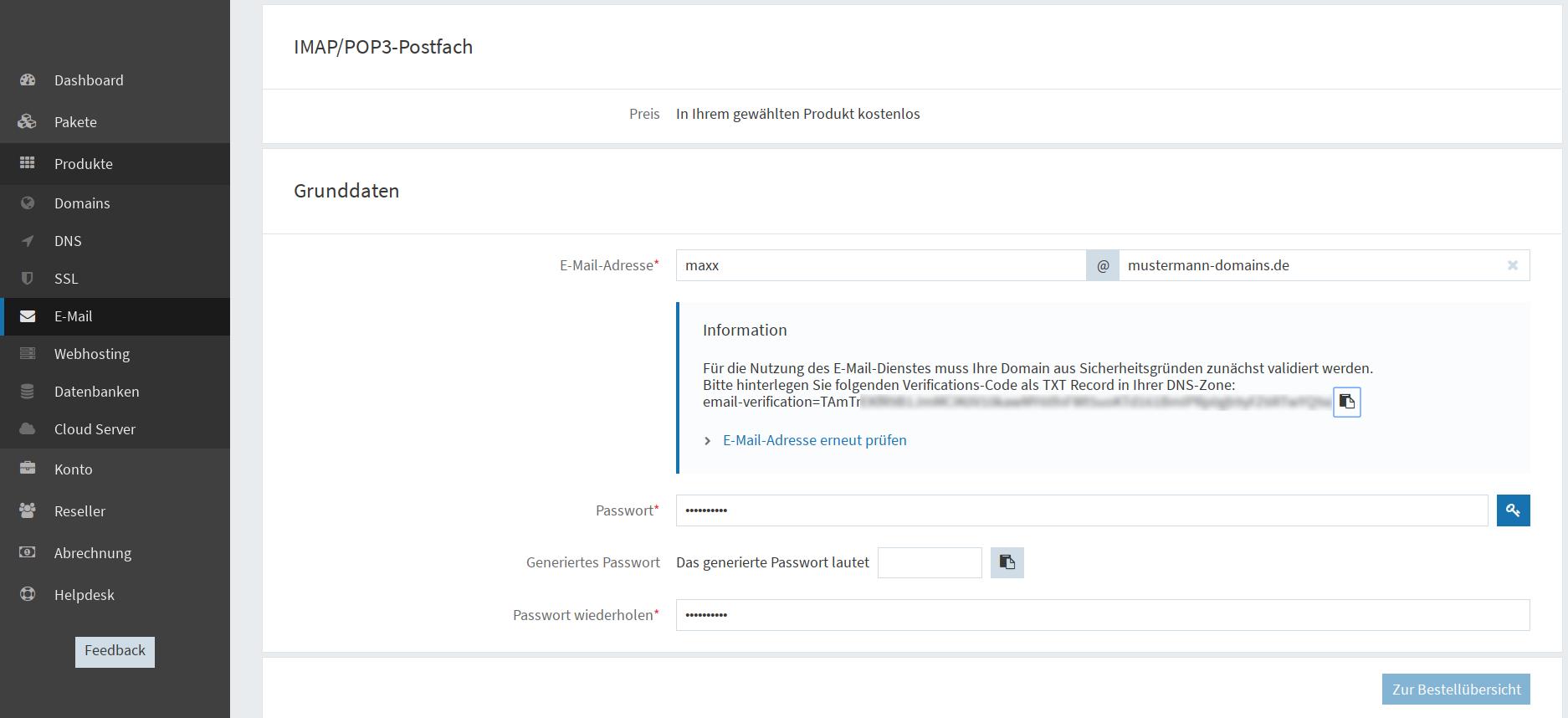 E-Mail-Adresse anlegen - externe Domain