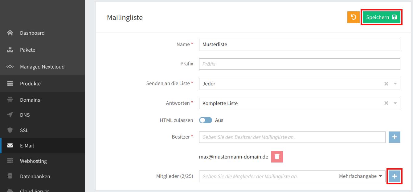 Mailingliste verwalten 03