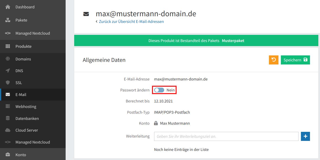 E-Mail-Passwort ändern 03