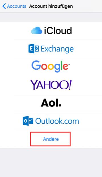 Einrichtung eines E-Mail-Kontos in Apple iOS Schritt 3