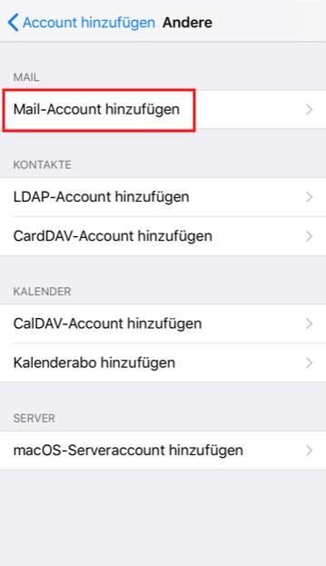 Einrichtung eines E-Mail-Kontos in Apple iOS Schritt 4