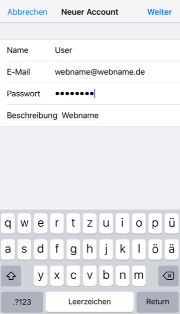Einrichtung eines E-Mail-Kontos in Apple iOS Schritt 5