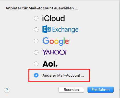 Einrichtung eines E-Mail-Kontos in Apple Mail Schritt 1