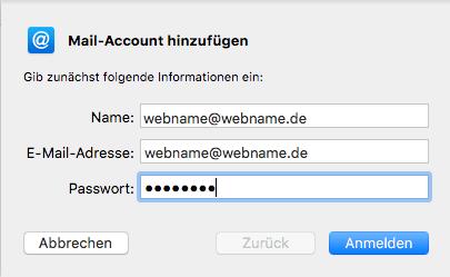 Einrichtung eines E-Mail-Kontos in Apple Mail Schritt 2