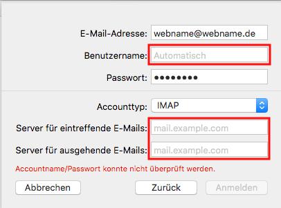 Einrichtung eines E-Mail-Kontos in Apple Mail Schritt 3