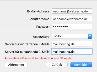 Einrichtung eines E-Mail-Kontos in Apple Mail Schritt 4