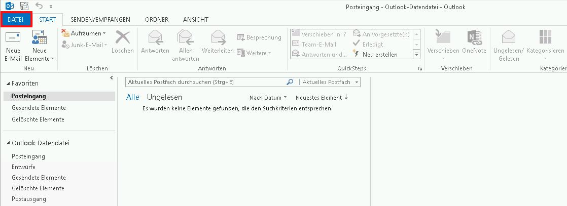 Einrichtung eines E-Mail-Kontos in Outlook 2013 Schritt 1