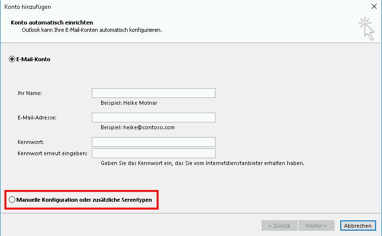 Einrichtung eines E-Mail-Kontos in Outlook 2013 Schritt 3