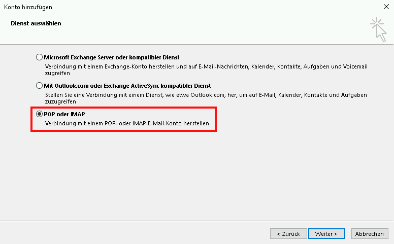 Einrichtung eines E-Mail-Kontos in Outlook 2013 Schritt 4