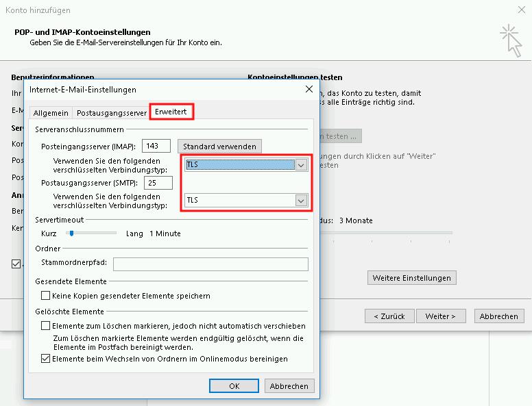 Einrichtung eines E-Mail-Kontos in Outlook 2013 Schritt 7