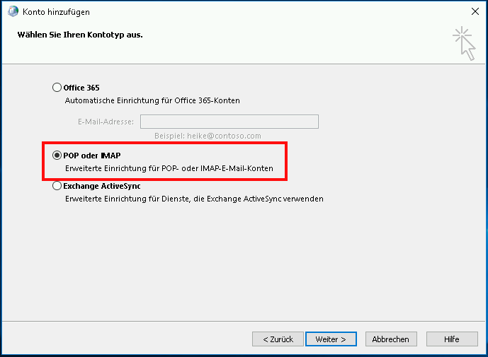 Einrichtung eines E-Mail-Kontos in Outlook 2016 Schritt 4