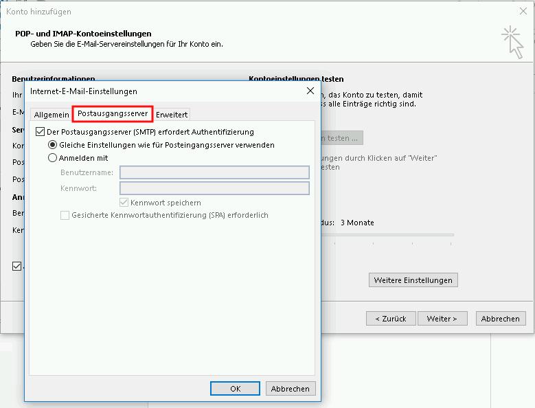 Einrichtung eines E-Mail-Kontos in Outlook 2016 Schritt 6
