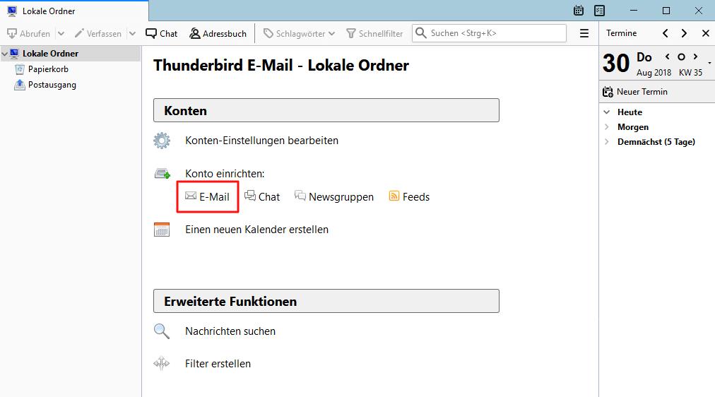 Einrichtung eines E-Mail-Kontos in Thunderbird Schritt 1