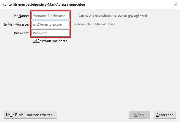 Einrichtung eines E-Mail-Kontos in Thunderbird Schritt 2