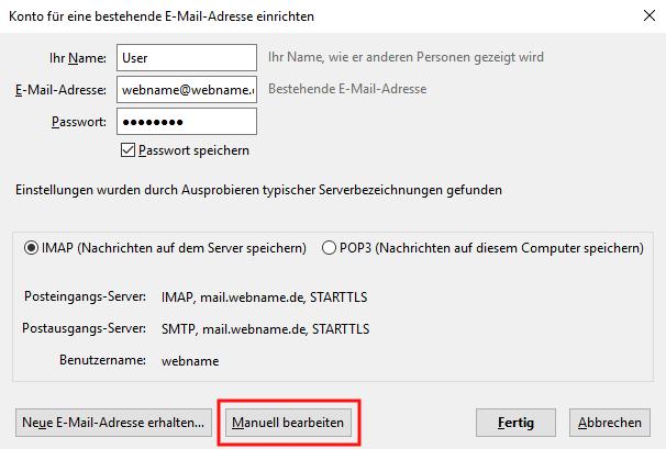 Einrichtung eines E-Mail-Kontos in Thunderbird Schritt 3
