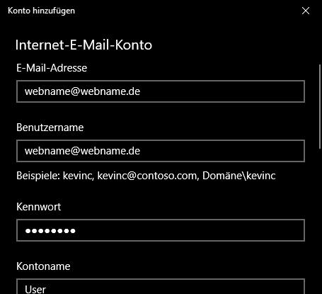 Einrichtung eines E-Mail-Kontos in Windows Mail Schritt 4