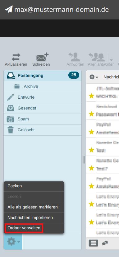 Webmailer Ordnergröße 02