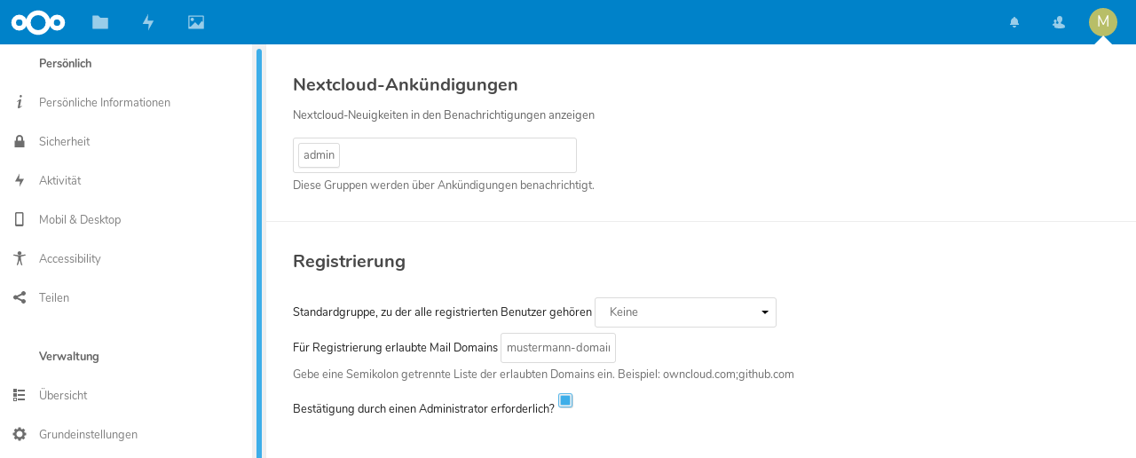 die Nextcloud Registration App