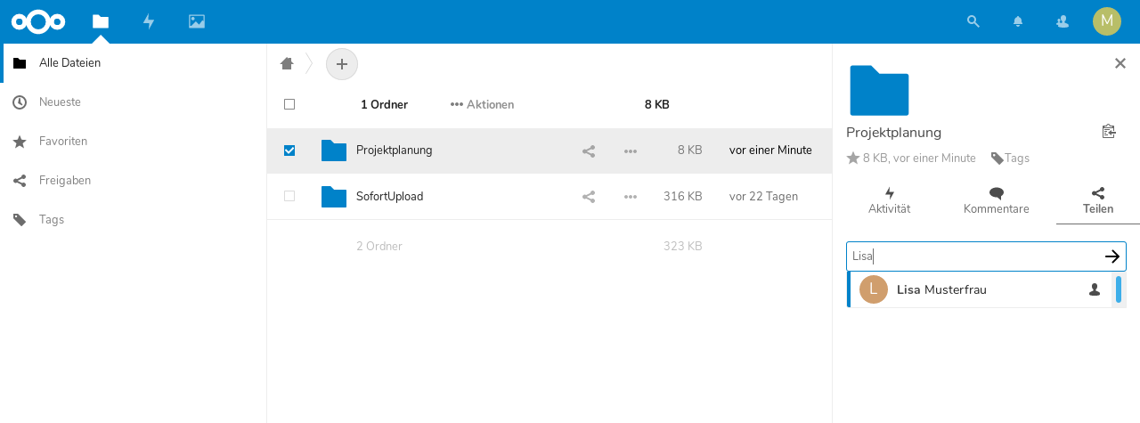 Installation von Apps in der Nextcloud