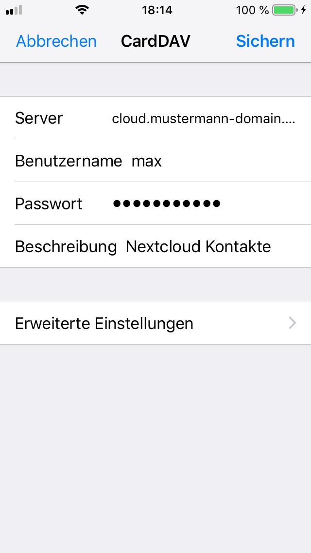 Nextcloud iOS Kontakte