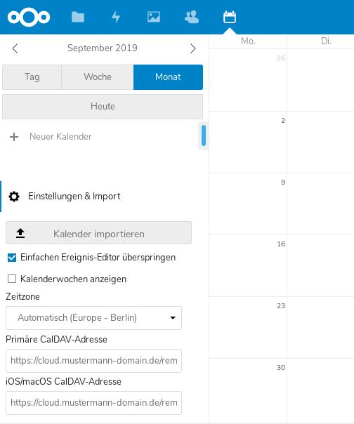 Nextcloud iOS Kalender URLs