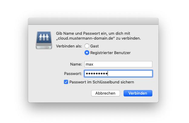 Nextcloud als WebDAV Netzlaufwerk in macOS einbinden