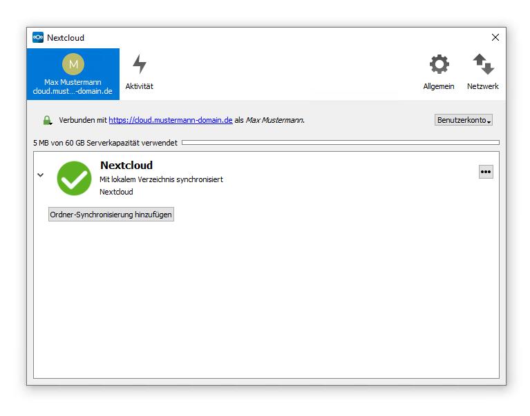 Einrichtung von Nextcloud Desktop