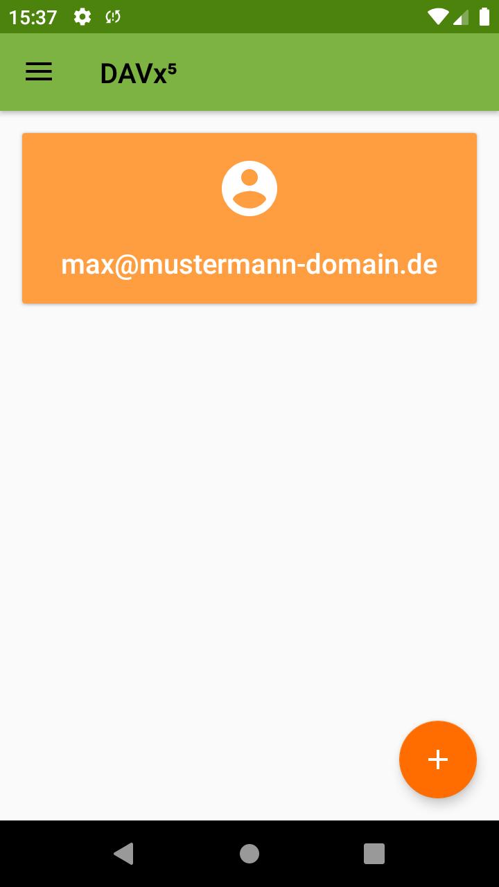 DAVx⁵ App nach der Installation