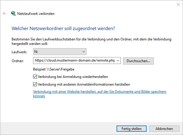 Nextcloud als WebDAV Netzlaufwerk im Explorer einbinden