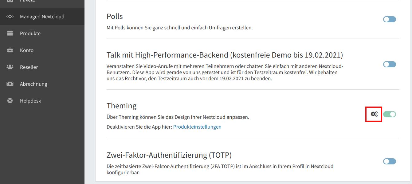 Die Theming-App konfigurieren 02