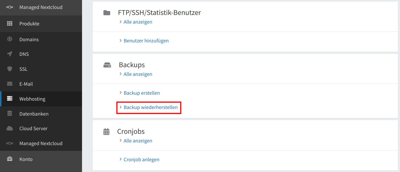 Webspace-Backup wiederherstellen 02