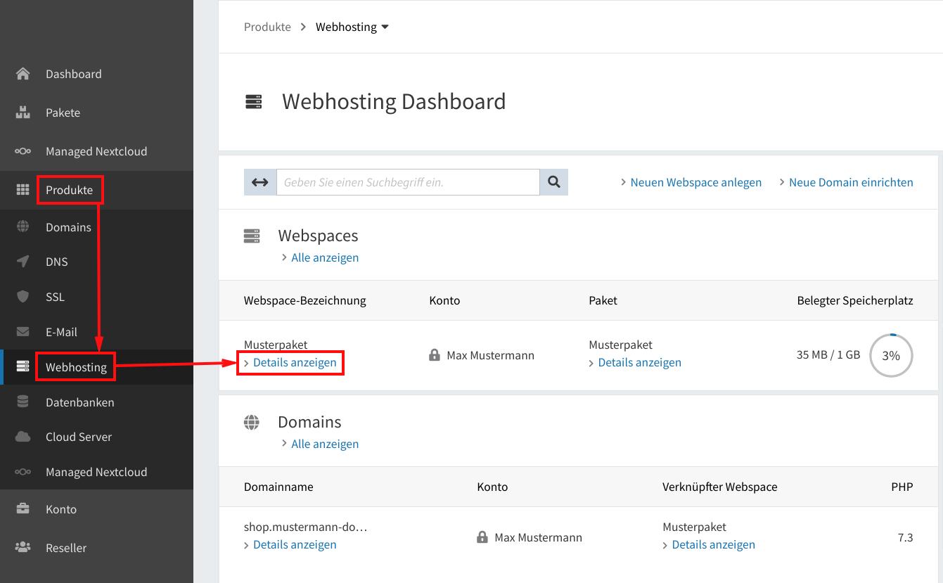 IP-Adresse Webspace 01