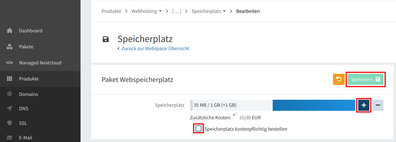 Webspace Speicherplatz erweitern 04