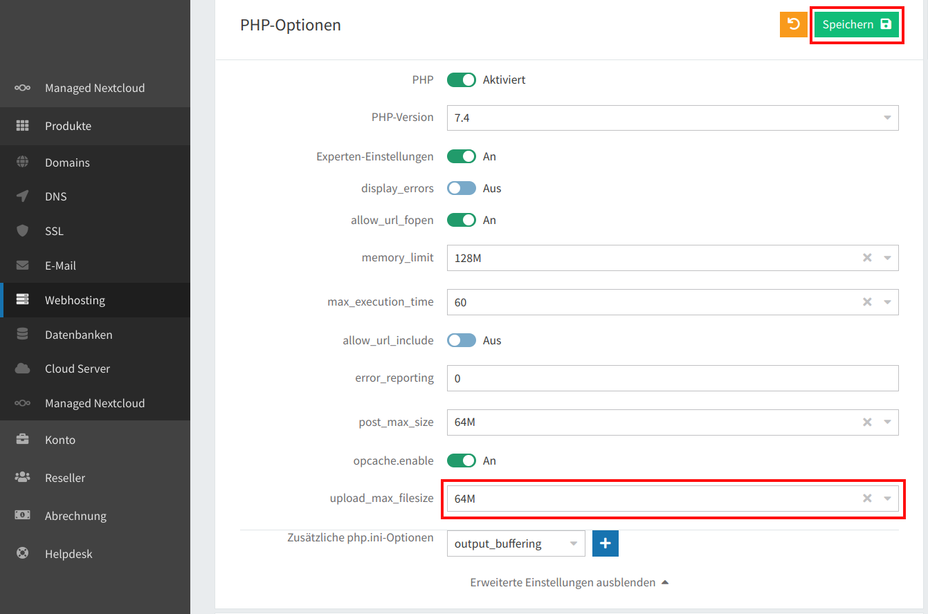 PHP-Uploadgröße 05