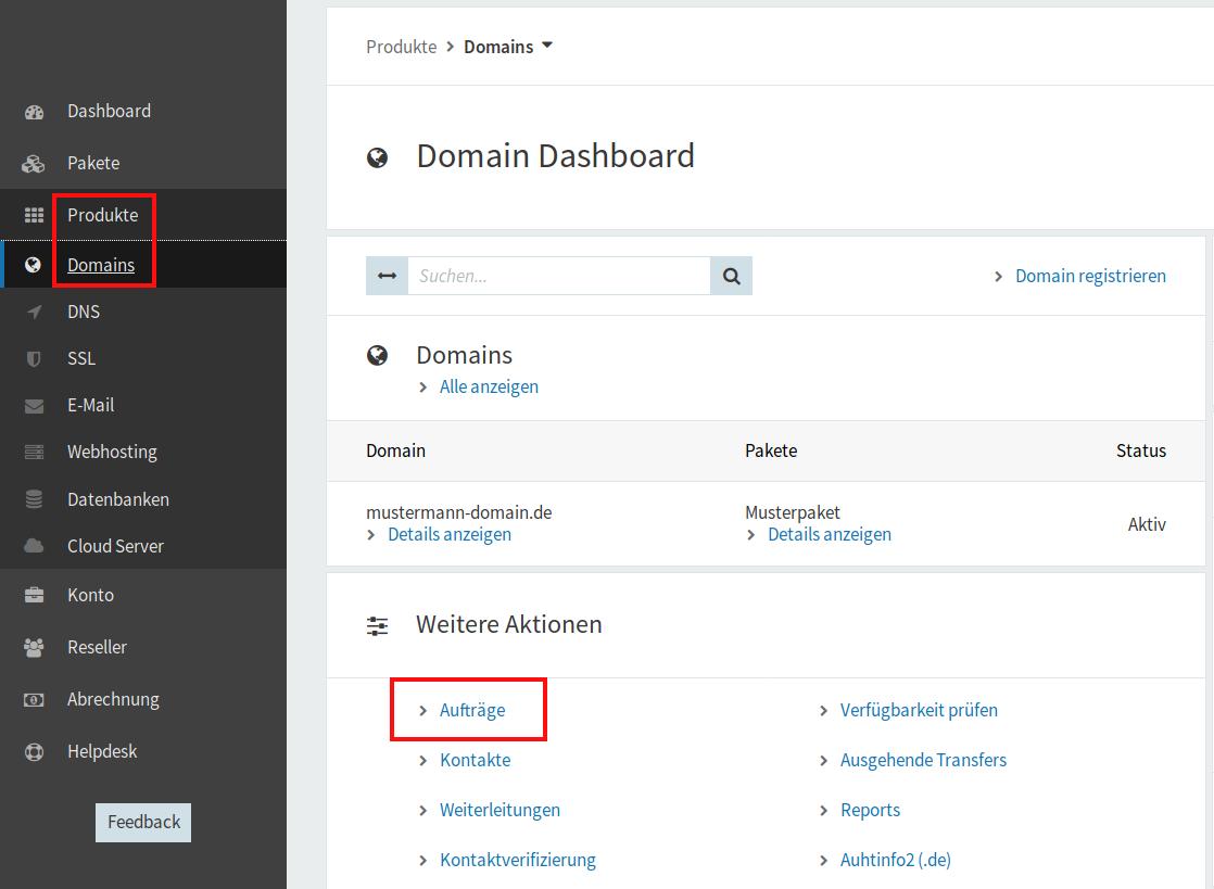 Domain-Aufträge